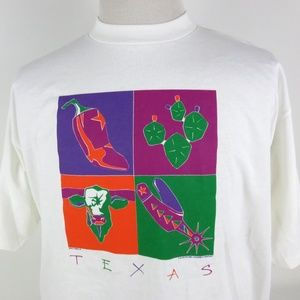 NEW Vtg Texas Themed XL Graphic Tshirt Andy Warhol